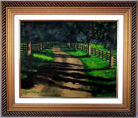 Quadro com pintura em óleo original - 48 x 57 cm - c/ moldura