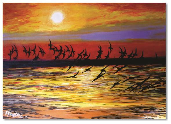Pintura original em óleo - Revoada 61 x 85 cm