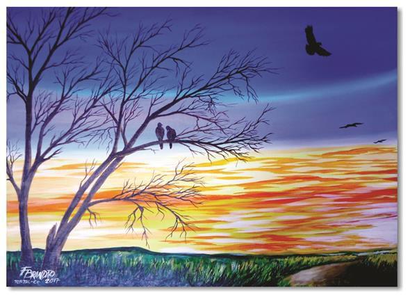 Pintura original em óleo - Pássaros nos galhos 61 x 85 cm