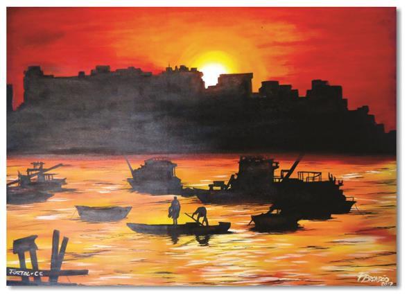Pintura original em óleo - Muralha 61 x 85 cm