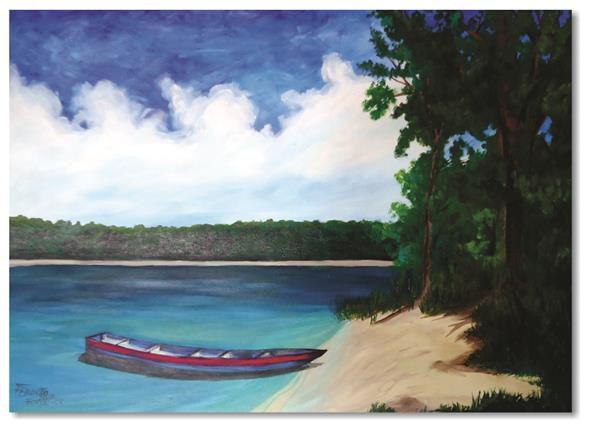 Pintura original em óleo - Barquinho na margem - 61 x 85 cm