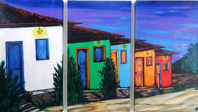 Quadro painel de 3 quadros - Vila de casas - acrílico