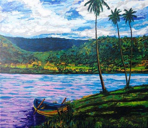 Lindo quadro de paisagem pintado a mão 79 x 91 cm