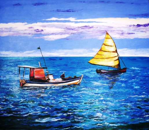 Lindo Quadro De Barcos Para Parede Original, Pintado A Mão