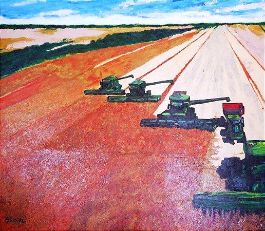 Quadro de colheita mecanizada, acrílico sobre tela 79 x 91 cm