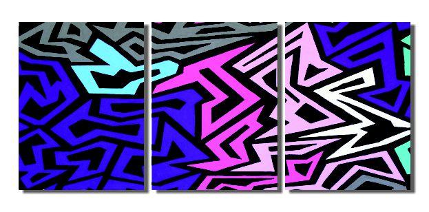 Painel abstrato triplo em acrílico para expor em sala pintado a mão