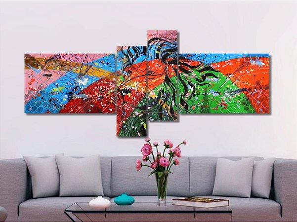 Quadro painel decorativo com leão abstrato 4 peças azul rosa verde laranja