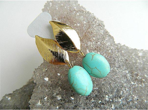 Brinco Folha Pedra Azul Turquesa