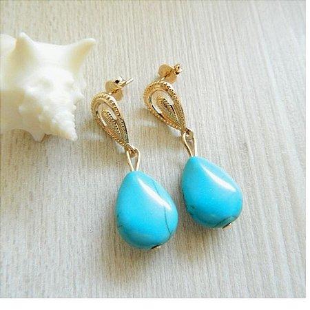 Brinco Pedra Azul Turquesa