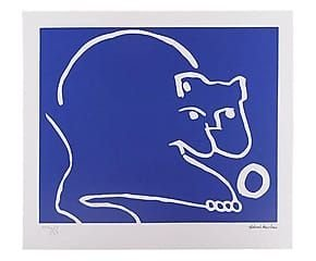 Gravura Gato Brincando (azul)