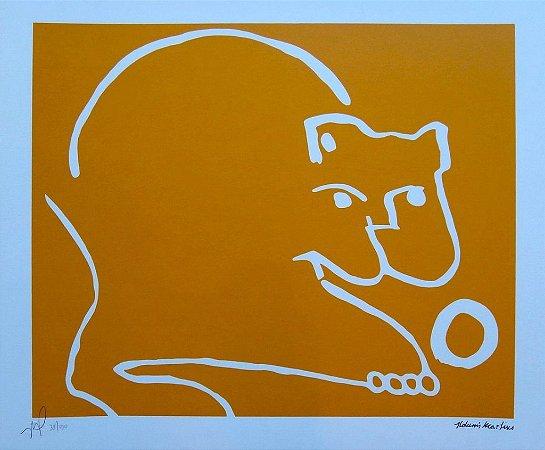 Gravura Gato Brincando (amarelo)
