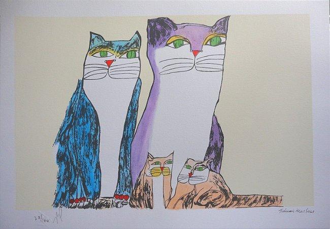 Gravura Família de Gatos Coloridos