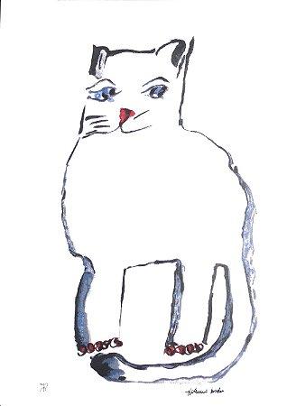 Gravura Gato Branco