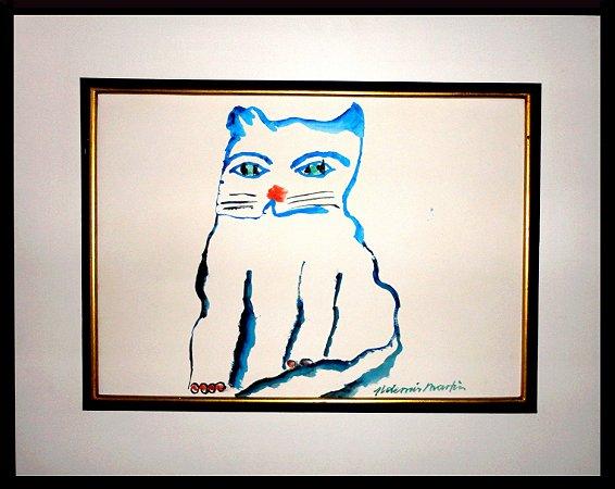 Quadro Gato Azul Contorno