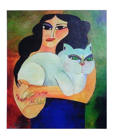 Giclée Mulher com Gato sem Moldura