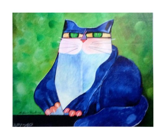 Giclée Gato azul I sem Moldura