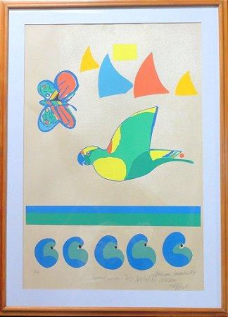 Gravura Papagaio e Borboleta (Emoldurado)