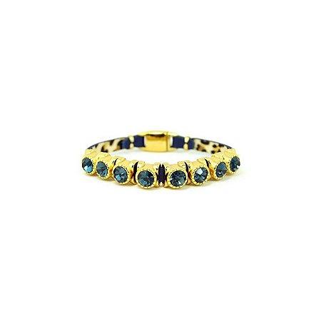 Pulseira Armazem RR Bijoux couro 8 cristais azul marinho