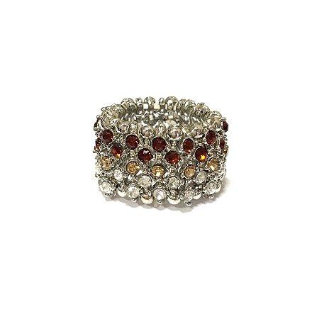 Anel Armazem RR Bijoux prata cristais mel e vermelho
