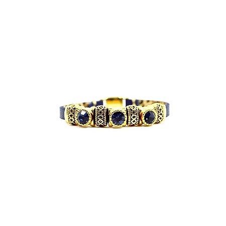 Pulseira Armazem RR Bijoux couro 3 cristais azul marinho