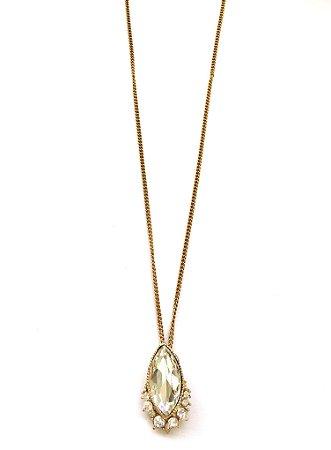 Colar Armazem RR Bijoux curto cristais ouro