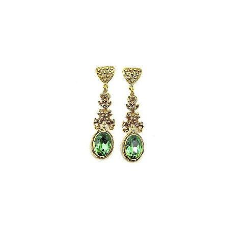 Brinco Armazem RR Bijoux cristal swarovski verde