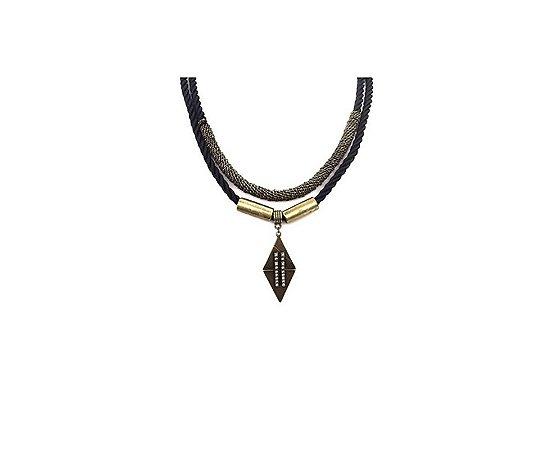 Colar Armazem RR Bijoux cordão preto ouro velho triangulo