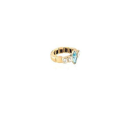 Anel Armazem RR Bijoux ouro velho navete azul