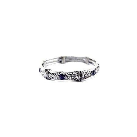 Pulseira Armazem RR Bijoux prata cristal azul