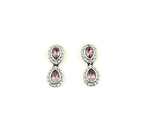 Brinco Armazem RR Bijoux gota dupla cristal swarovski rosa