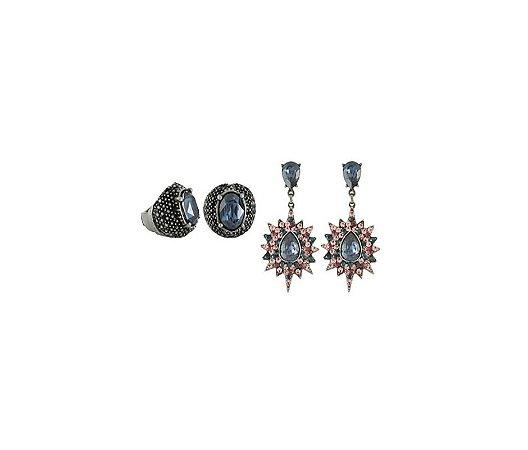 Conjunto Armazem RR Bijoux brinco e anel cristal grafite