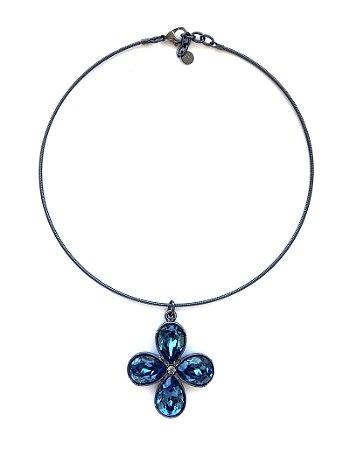 Colar Armazem RR Bijoux cristal swarovski flor azul