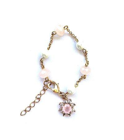Pulseira Armazem RR Bijoux infantil flor rosa