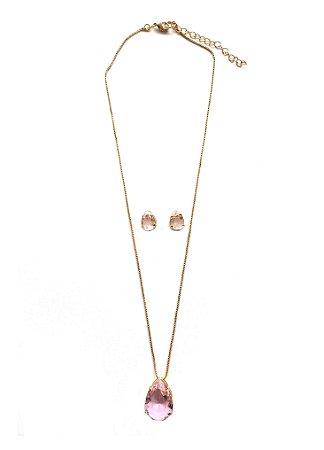 Conjunto Armazem RR Bijoux colar e brinco gota rosa