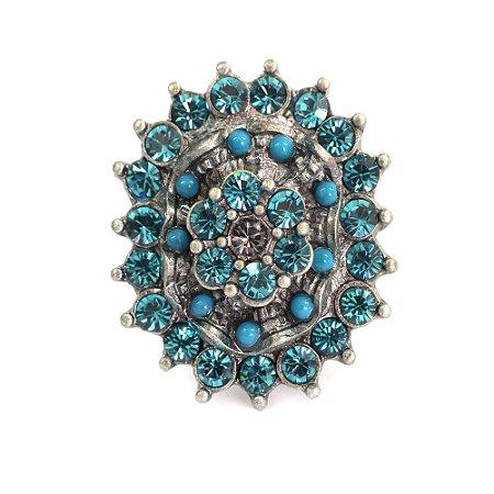 Anel Armazem RR Bijoux cristais azul
