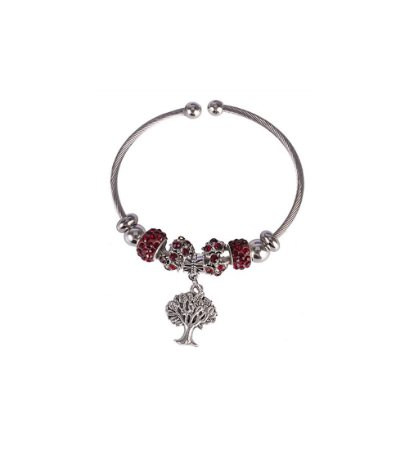 Pulseira Armazem RR Bijoux berloques arvore vermelho prata