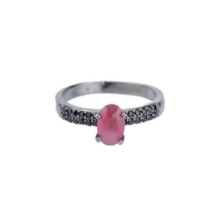 Anel Armazem RR Bijoux pedra rosa