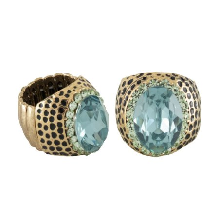 Anel Armazem RR Bijoux pedra azul dourado