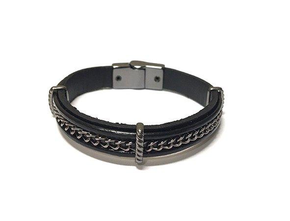 Pulseira Armazem RR Bijoux masculina couro metal entrelaçado