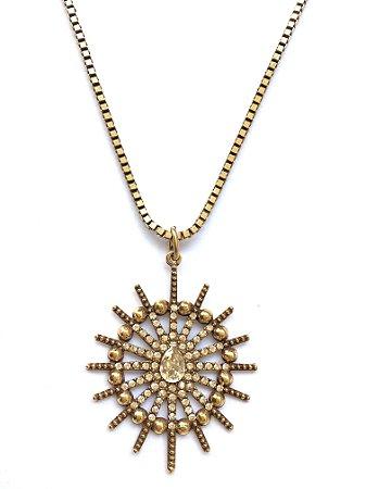 Colar Armazem RR Bijoux cristal swarovski ouro velho