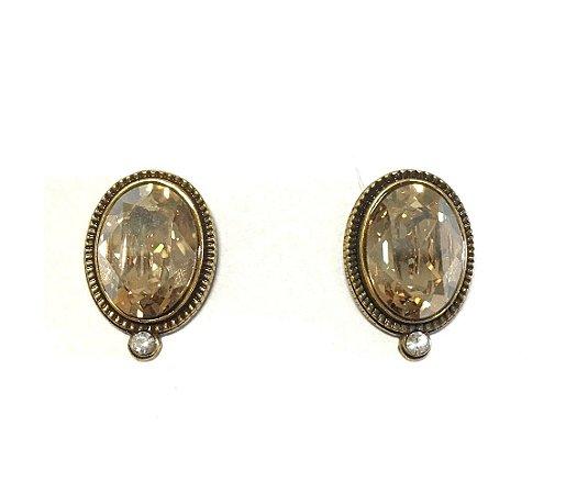 Brinco Armazem RR Bijoux cristal swarovski oval ouro velho