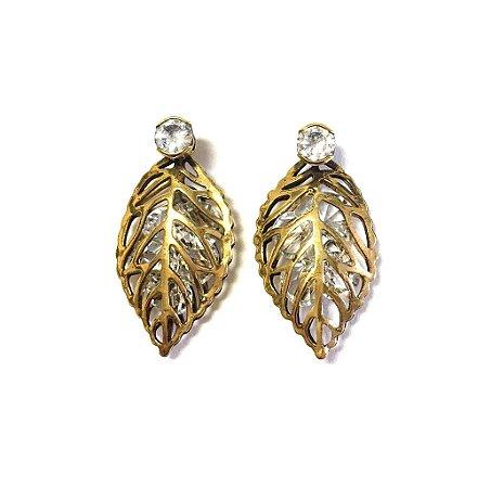 Brinco Armazem RR Bijoux cristal swarovski folha ouro velho