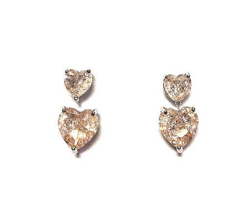 Kit de Brinco Armazem RR Bijoux coração rosa prata