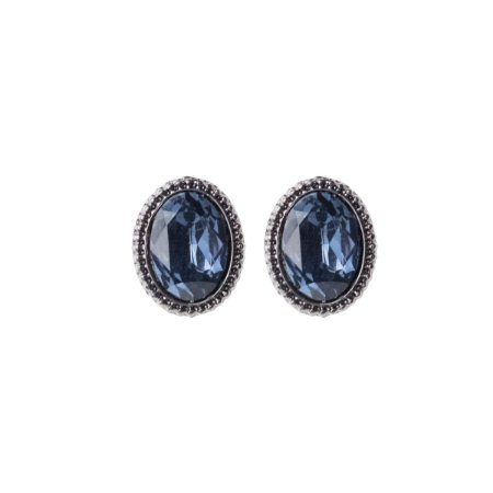 Brinco Armazem RR Bijoux oval cristal azul grafite