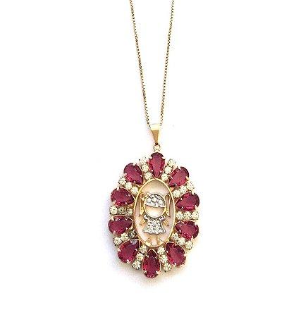 Colar Armazem RR Bijoux semi jóia mãe menina cristal rosa