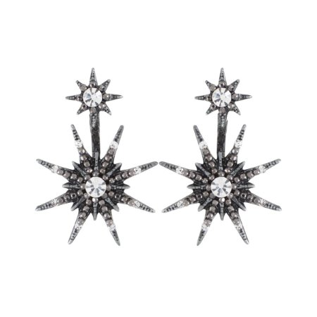 Brinco Armazem RR Bijoux estrela ear jacket cristal grafite