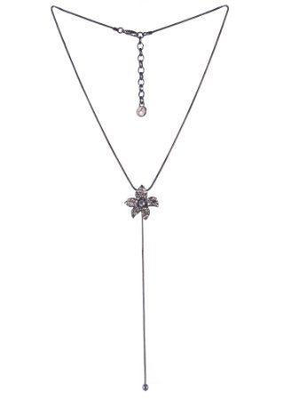 Colar Armazem RR Bijoux gravatinha flor cristais cravejados grafite