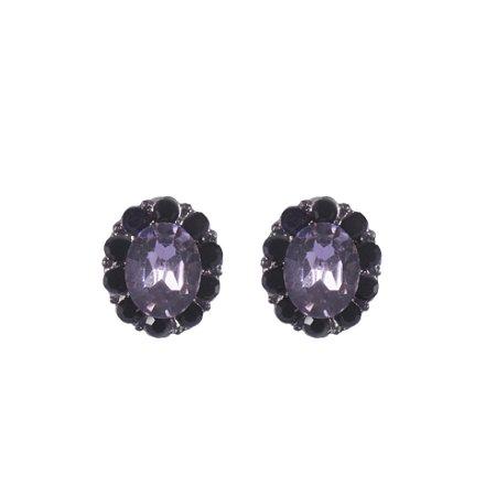 Brinco Armazem RR Bijoux cristais pretos com pedra rose grafite