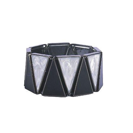 Pulseira Armazem RR Bijoux geométrica preta e perolada