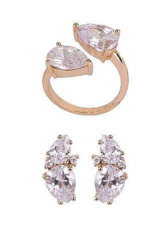 Conjunto Armazem RR Bijoux Brinco e Anel gota cristal dourado
